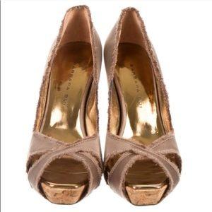 Barbara Bui peep toe cork heels